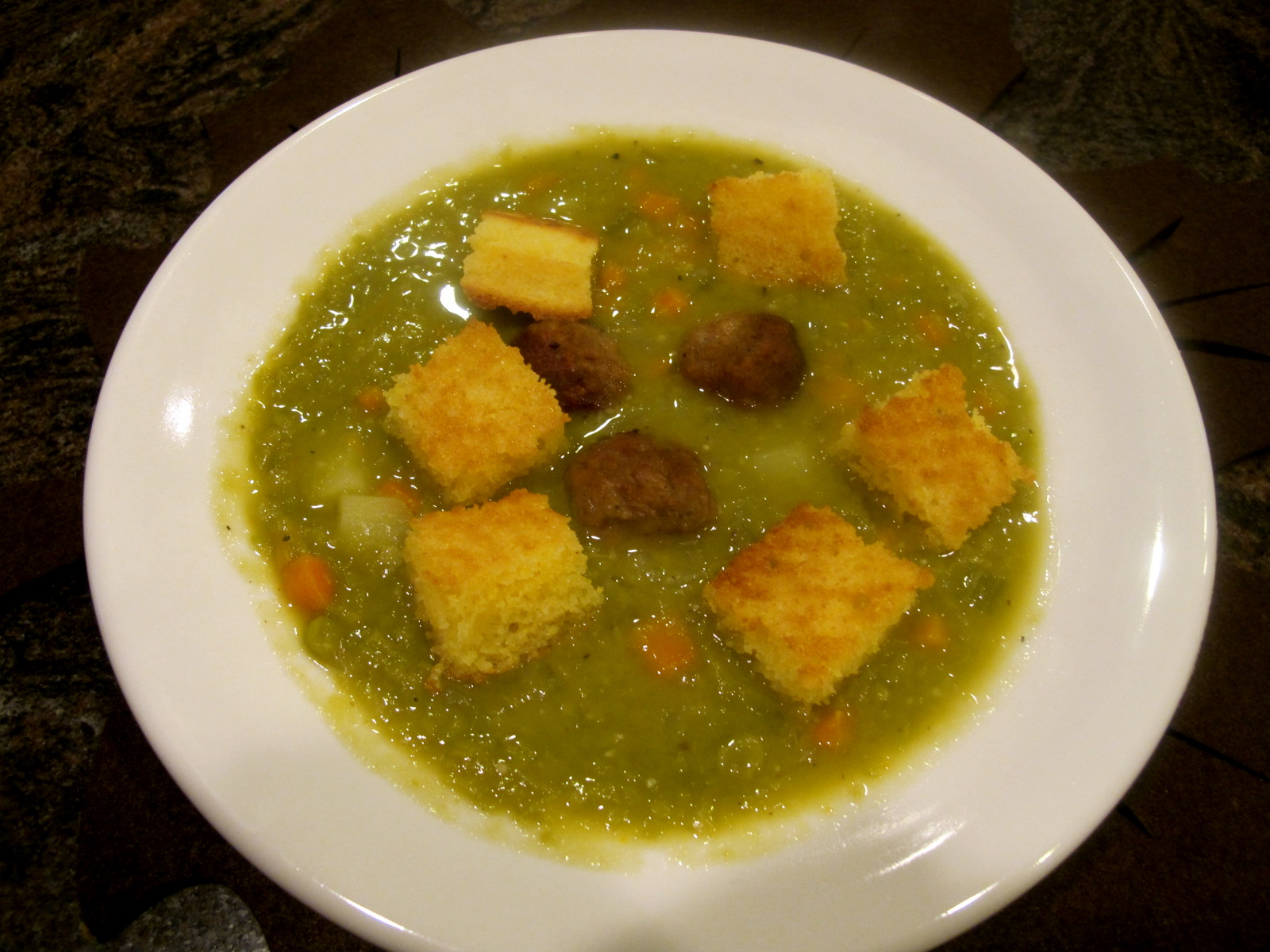Vegan Split Pea Soup With Challah Croutons Recipes — Dishmaps