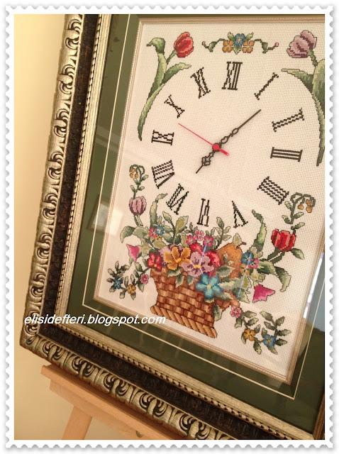 kaneviçe işlemeli saat