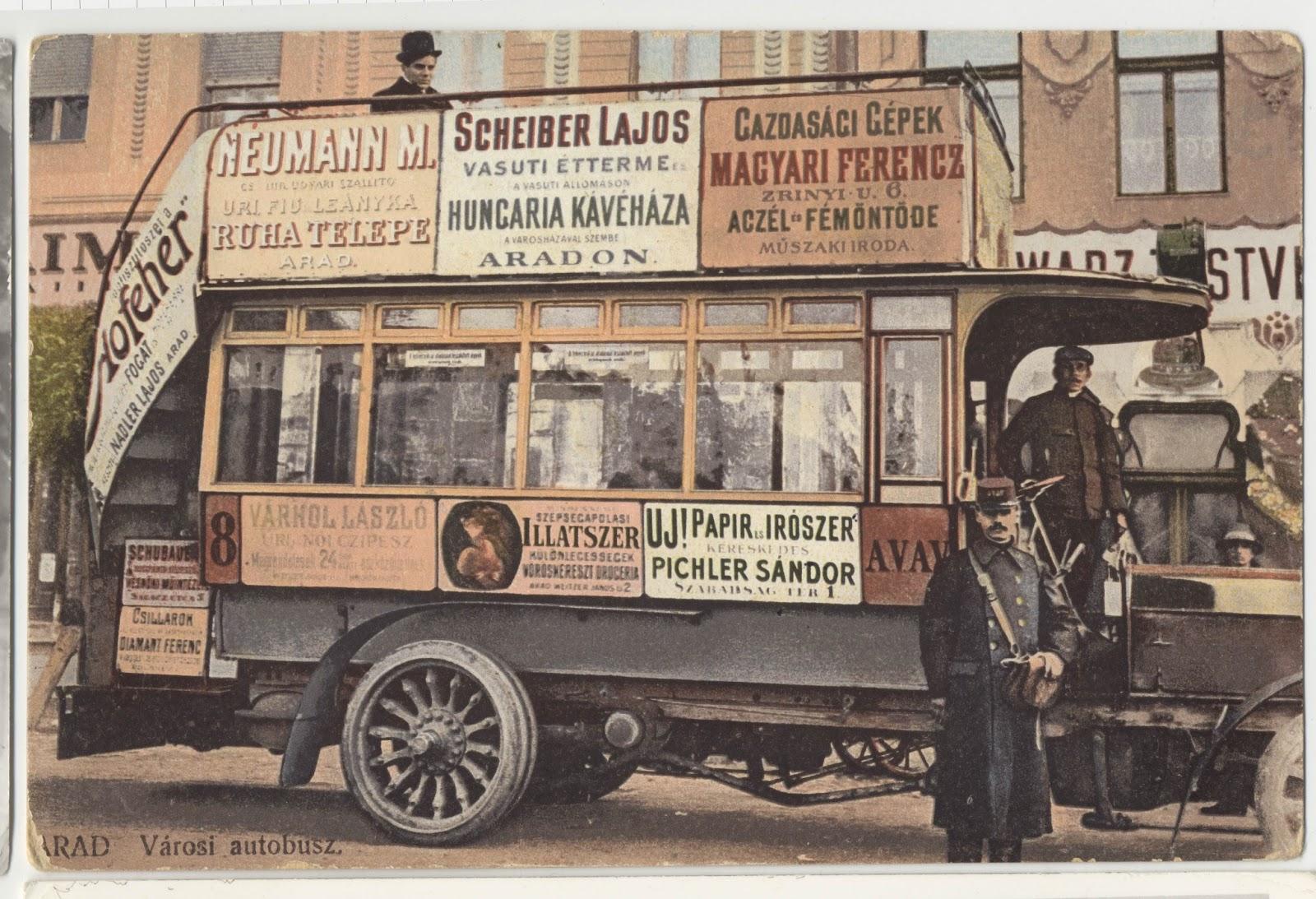 Autobuz cu reclame in Aradul de odinioara