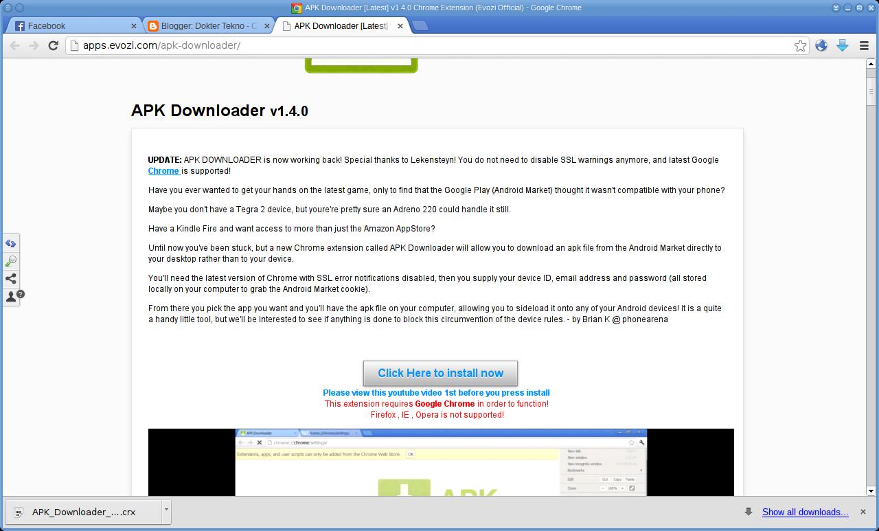 Dari Google Play Store Dengan Memakai Browser Google Chrome di Linux