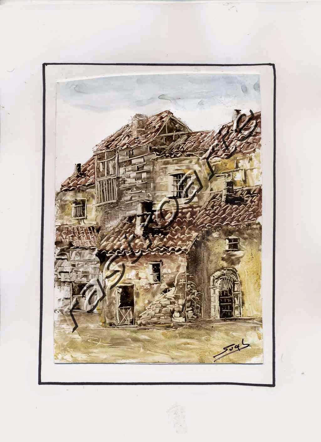 Estampa rural recogida en un apunte de Francisco Suela en la localidad segoviana de Villar de Sobrepeña