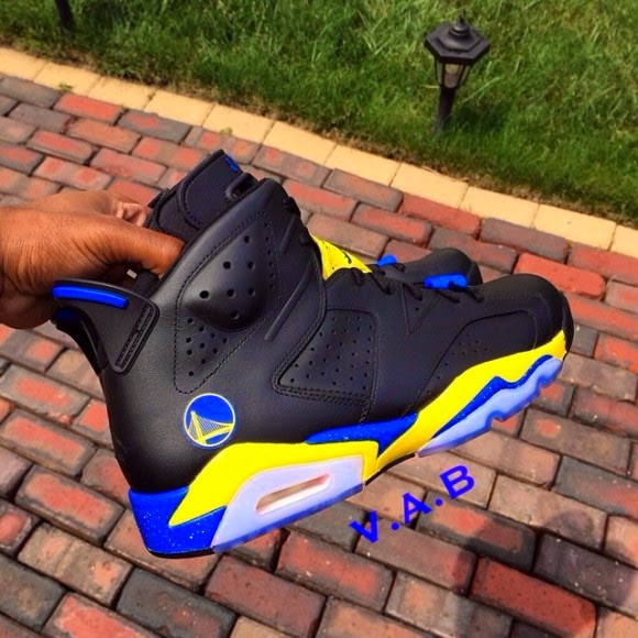 Custom Kicks Air Jordan 6 Golden State Warriors