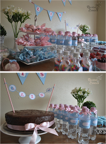 Chá de bebê nas cores azul e rosa