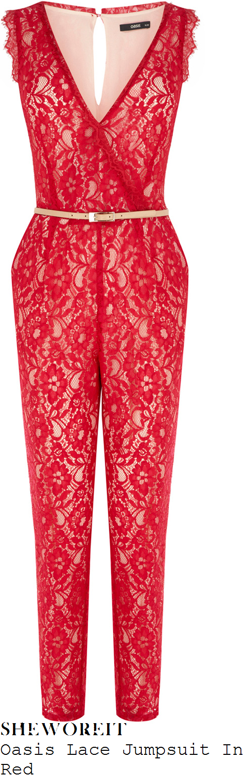 lucy-mecklenburgh-red-floral-lace-sleeveless-cross-over-front-v-neck-tailored-jumpsuit-christmas-eve