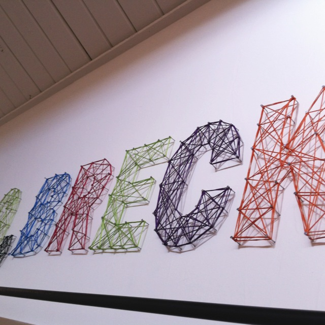 another close up of string art letters