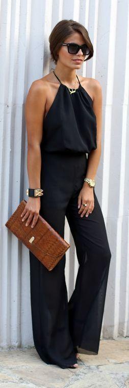 Fashion Pills Black Lady Halter Wide Leg