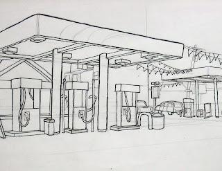 Old Gas Station Drawing Art of John Guy...