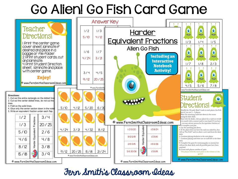 Fern Smith's Classroom Ideas Freebie Friday's FREE Go Alien Equivalent Fractions Go Fish Card Game at TeachersPayTeachers.
