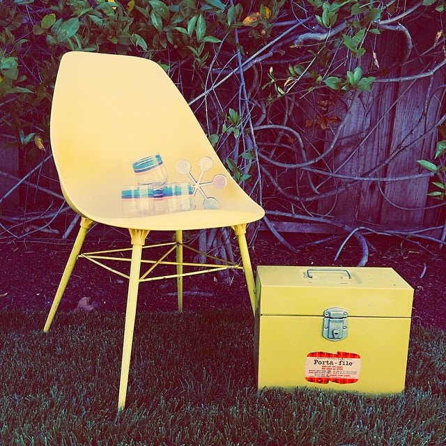 #thriftscorethursday Week 13 | Instagram user: futuristichuman shows off her spring infused ensemble with a cheery yellow chair and matching toolbox.
