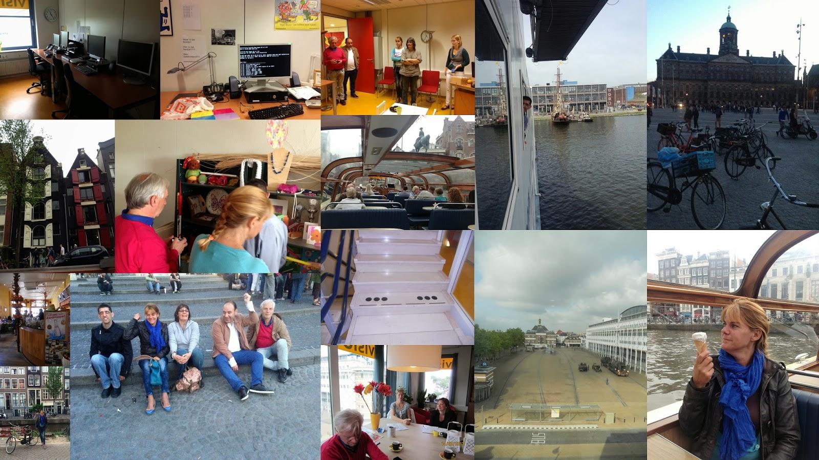 Colagem de fotografias deste último dia de trabalho e já em Amesterdão