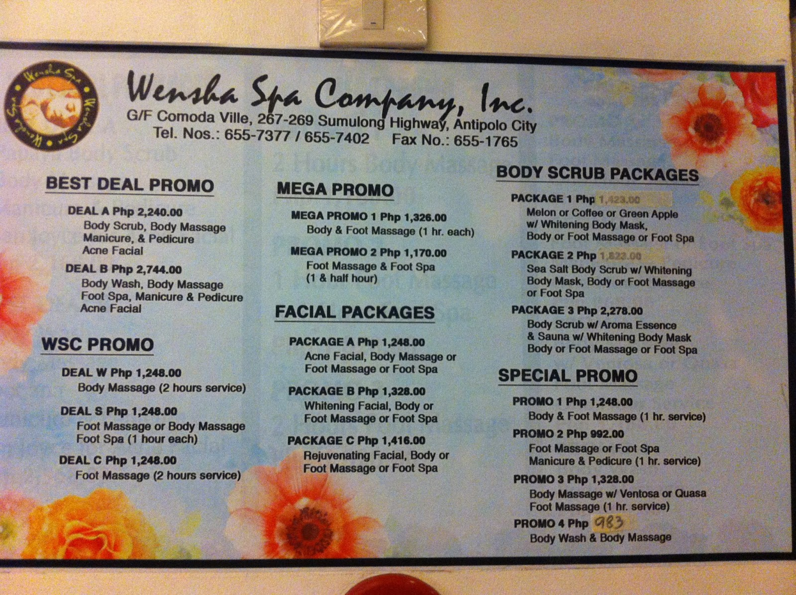 Wensha Spa Price List