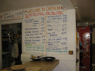 The Chicken Cafe Menu - to avoid sticker shock, remember just how far out in the boonies they are.