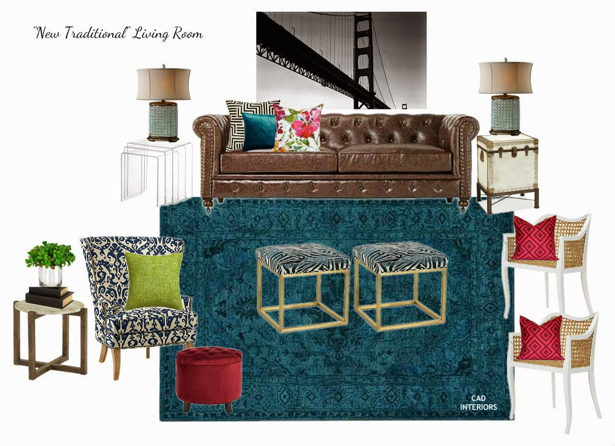 eclectic transitional traditional modern contemporary interior design chesterfield sofa acrylic nesting tables