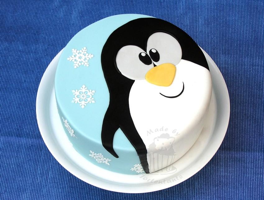 Motivtorte Fondant Penguin Wintertorte