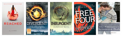 Reached (Condie), Divergent (Roth), Insurgent (Roth), Free Four (Roth), The Billionaire's Christmas Baby (James)