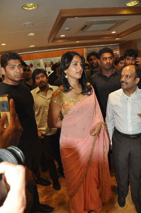 Anushka Shetty in Mustard Saree and Golden Blouse in a Shopping mall actress pics