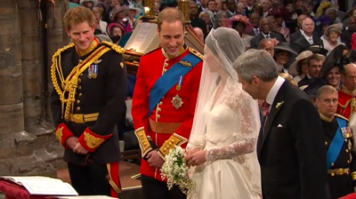 At the altar: William to Catherine: You look beautiful. YouTube 2011.