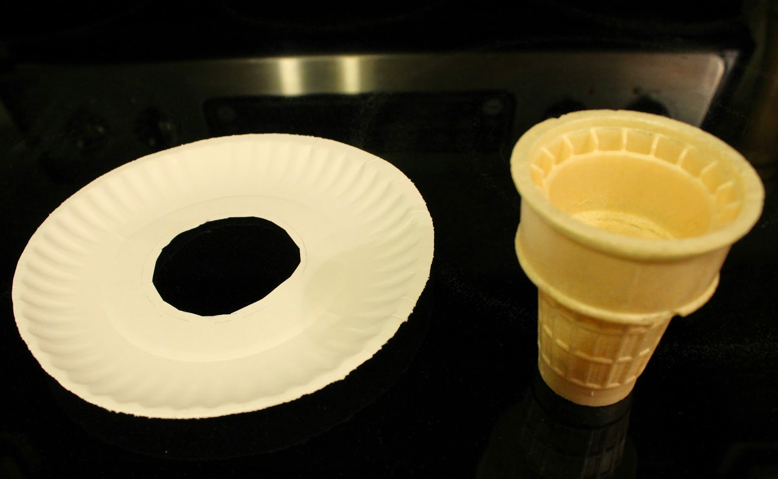 Paper plate drip tray and an ice cream cone beside it