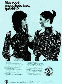 """propaganda """"Diga não à Inflação"""" - 1973. 1973; os anos 70; propaganda na década de 70; Brazil in the 70s, história anos 70; Oswaldo Hernandez;"""