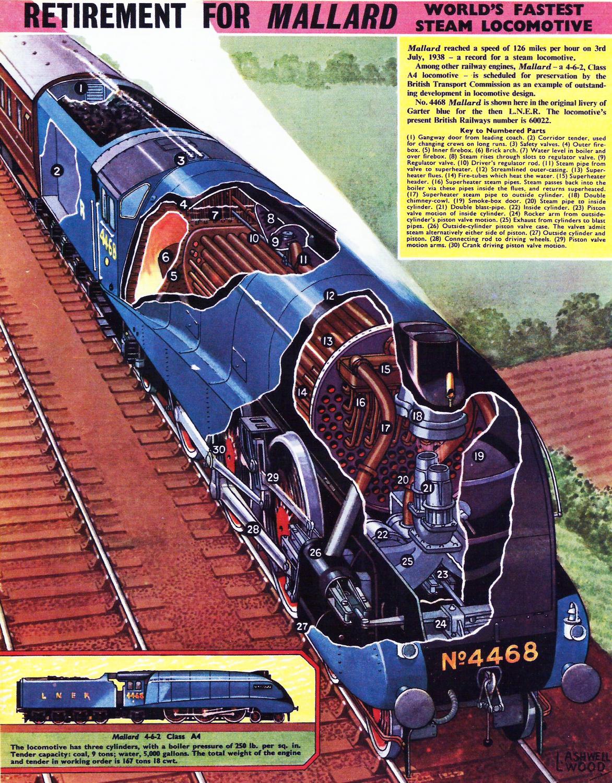Transpress Nz Mallard Record Holder Steam Locomotive Cut Away Diagram Of Engine