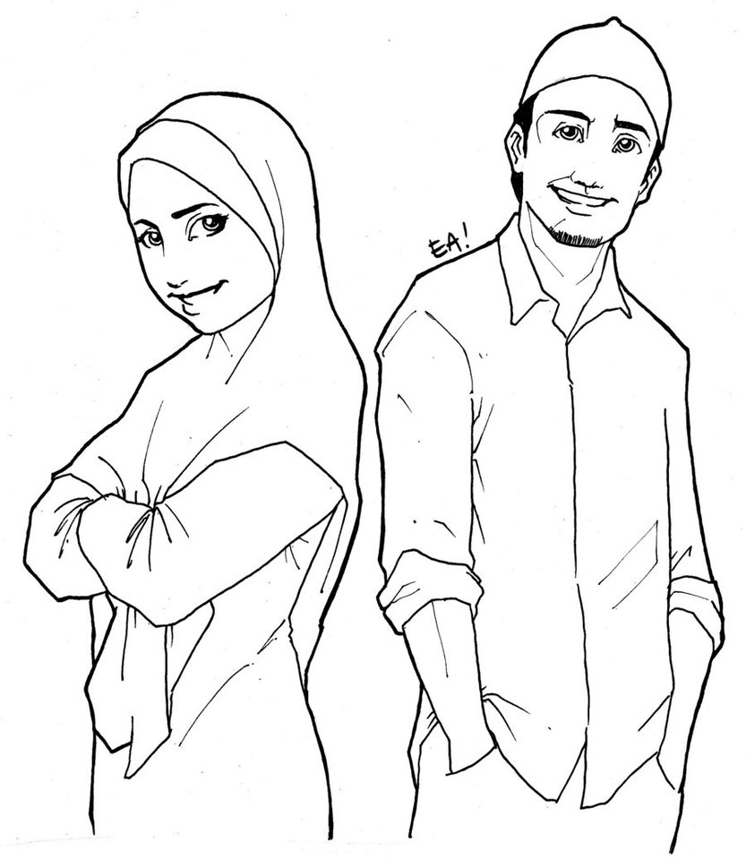 Cartoon Drawing of Man and Woman