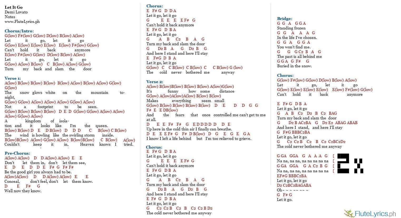 let it go piano notes pdf