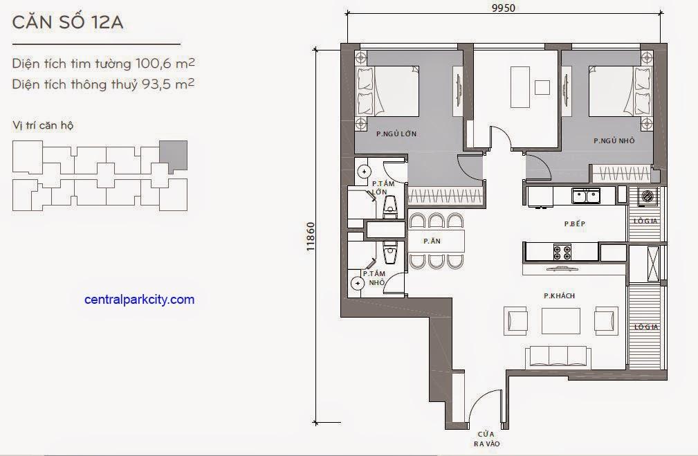 Căn hộ Landmark 2 & 3 - kiểu nhà số 12A - 100.6m2 - 3PN