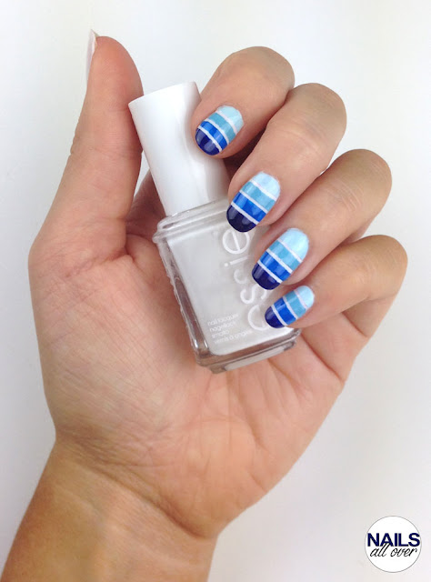 "Genutzt: Essence Studio Nails 24/7 Nail Base - Essie ""Blanc"" -  P2 Color Victim ""Remember Me"" -  Maybelline Color Show ""Cool Blue"" -  P2 Color Victim ""All About Blue"" -  Essie ""Style Cartel"" -  Seche Vite Dry Fast Top Coat -  Pinsel -  Striping Tape"