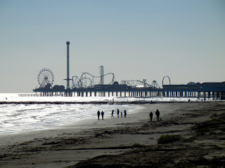 View of the Pleasure Pier off of the Galveston seawall