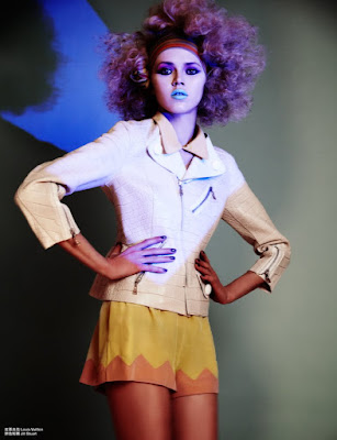 purple hair, model with afro big hair, fashion photographer london, blue teal lipstick