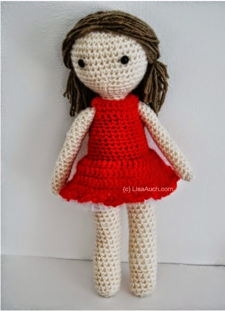 Little Crochet Red Dress Pattern for your Basic Amigurumi Doll (Free ...