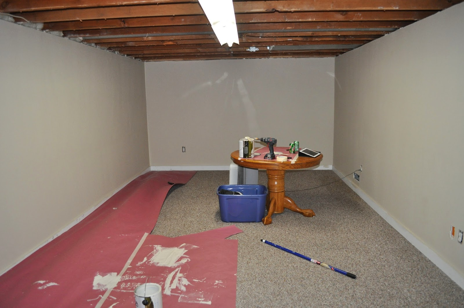 basement, menards, paint, organization, rec room, peel and stick tile, diy, basement project, finished basement