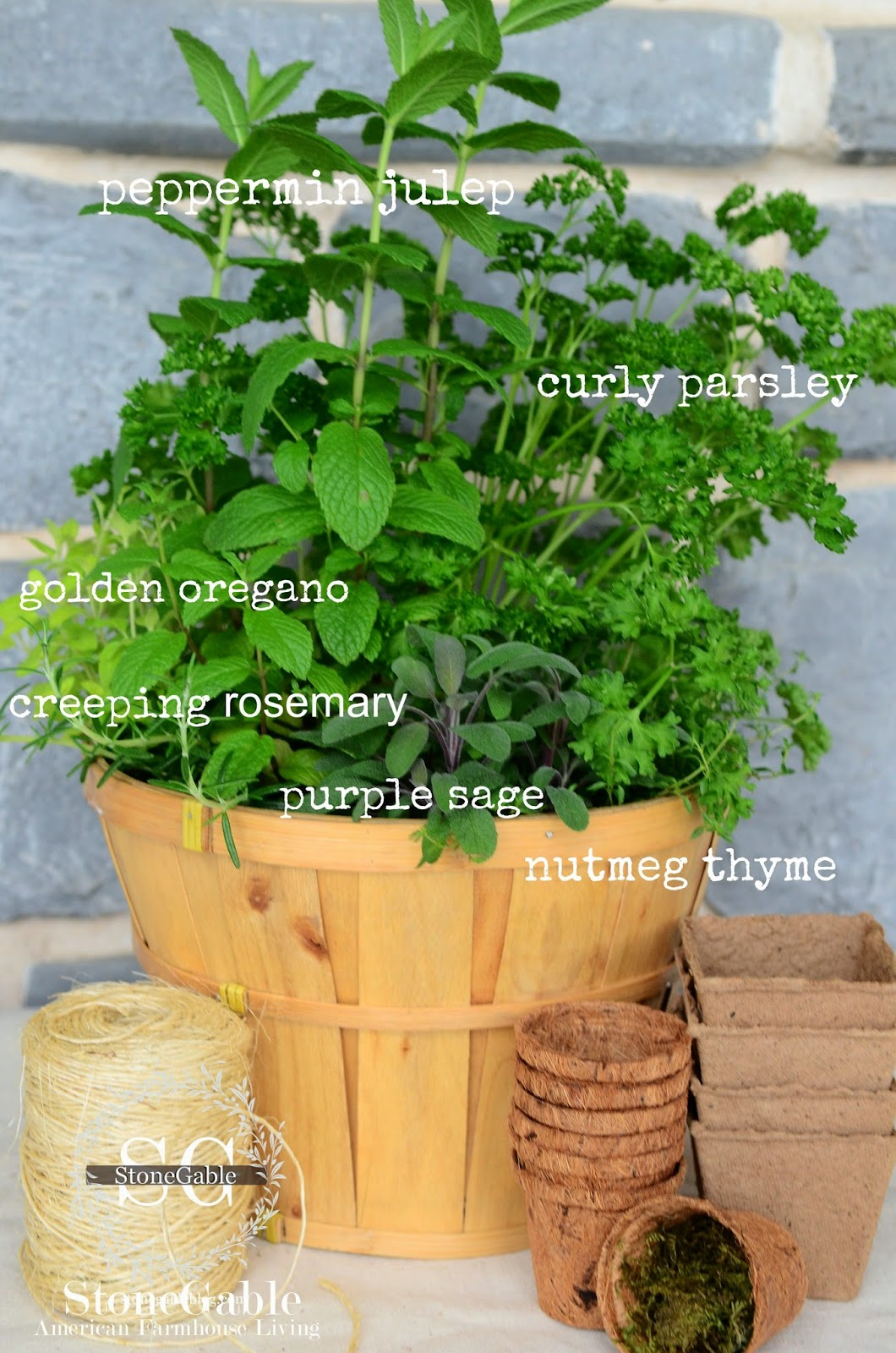 Stonegable kitchen herb garden in a basket for Kitchen herb garden