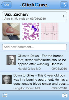 iClick Care demon on an iPhone - Physician collaboration tool