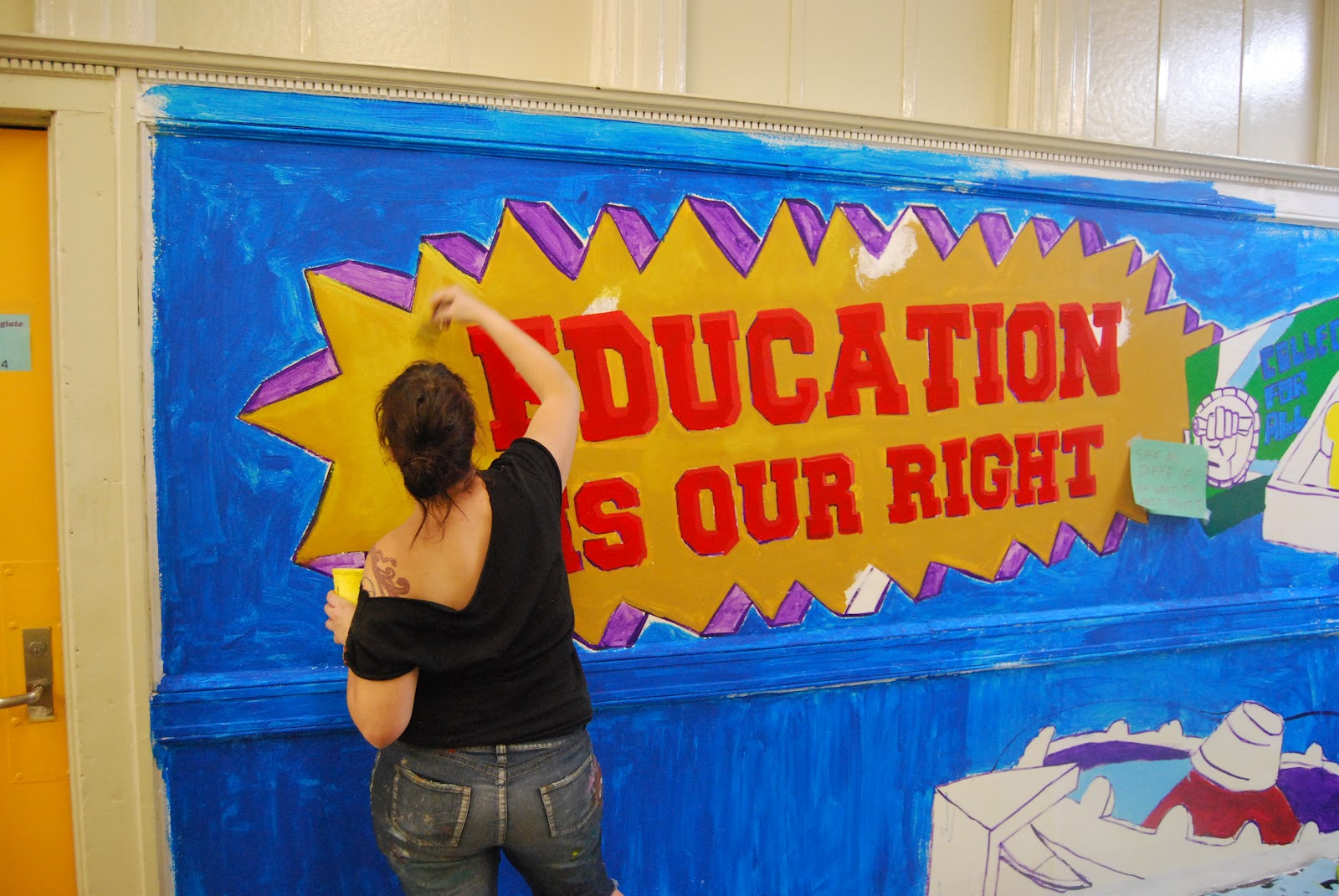 Mensen education is our right mural at park slope for Educational mural