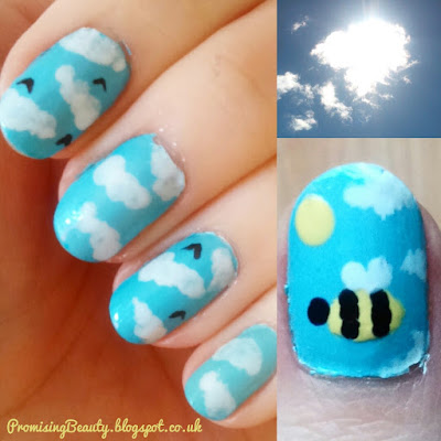 Bumblebee nails! Fun manicre with nail art, clouds, blue sky and bumble bee.