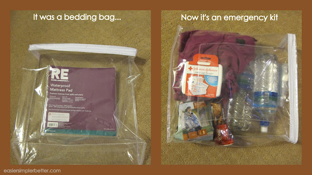 A zipper-closed bag from a mattress pad is used as the bag for an emergency kit