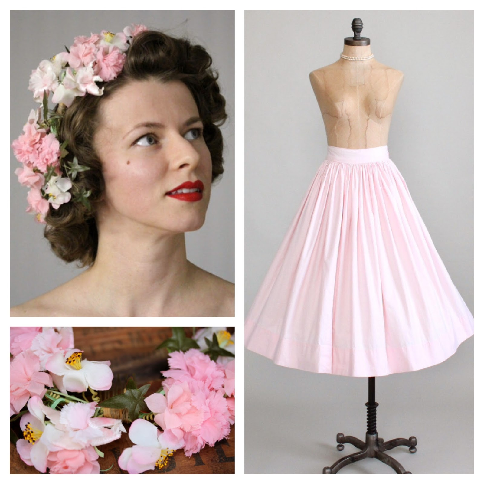 Blooming Vintage #1950s #skirt #pink #flower #vintage #hair