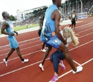 funny picture blonde girl in the way sprint