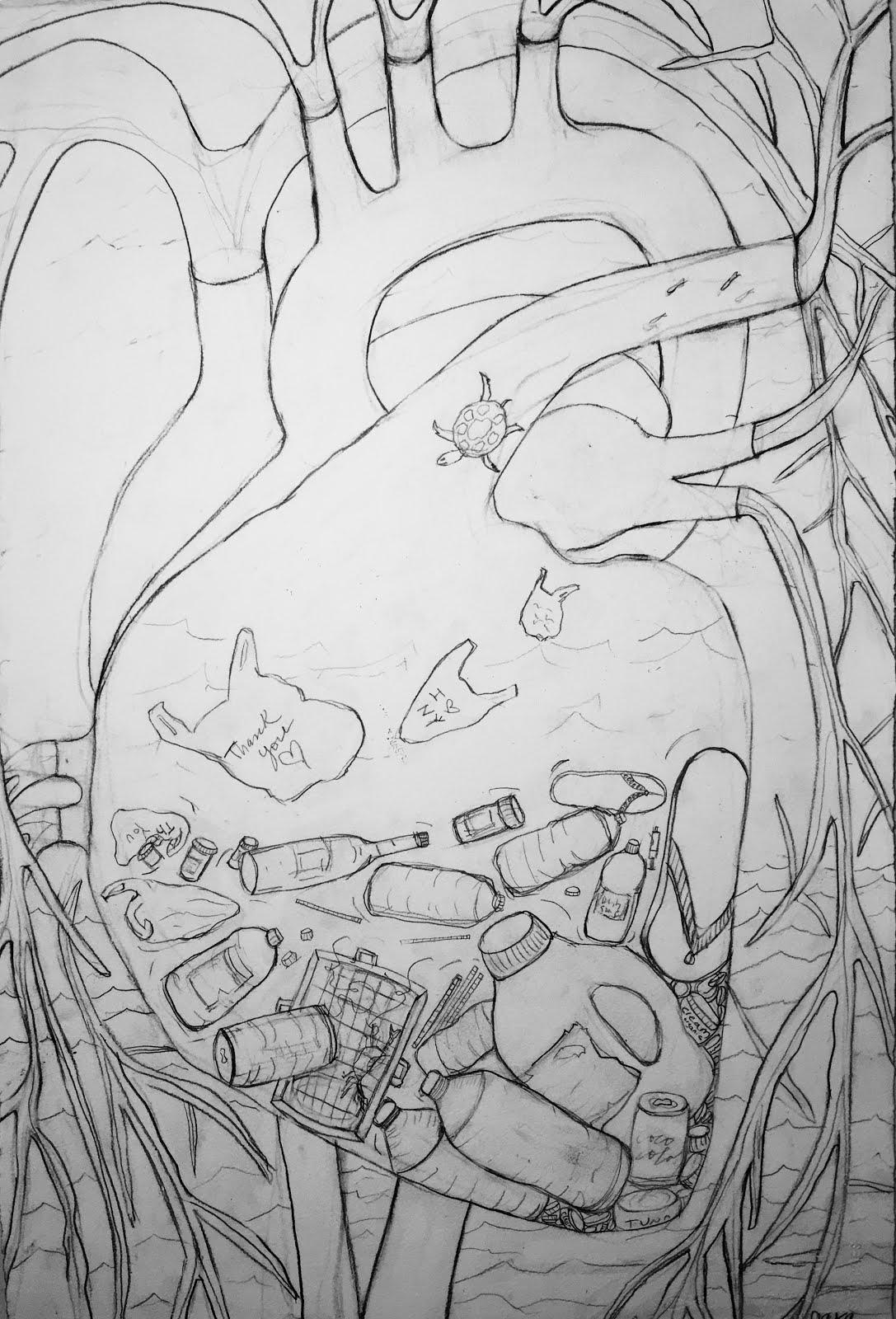 LOSS OF THE CORAL REEF 2016  Plastic Pollution Series(drawing For Painting)