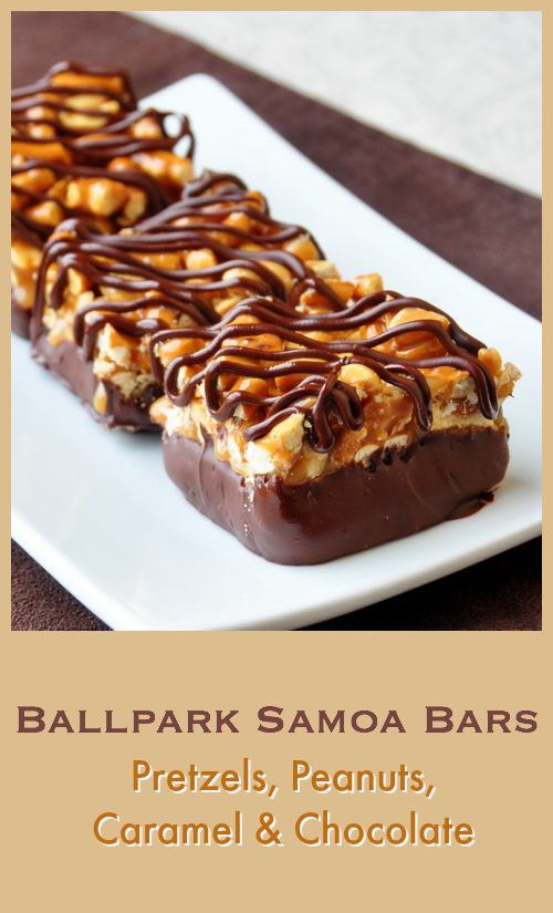 Ballpark Samoa Bars - a new take on delicious caramel samoa bars that replaces the toasted coconut with favorite ballpark snacks peanuts and pretzels.