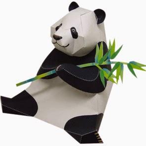Panda Papercraft Holding Bamboo Model
