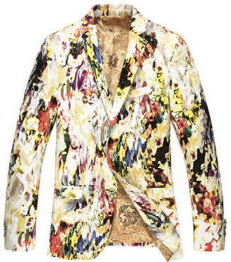 Mens Stylish Blazer With Colorful Artwork