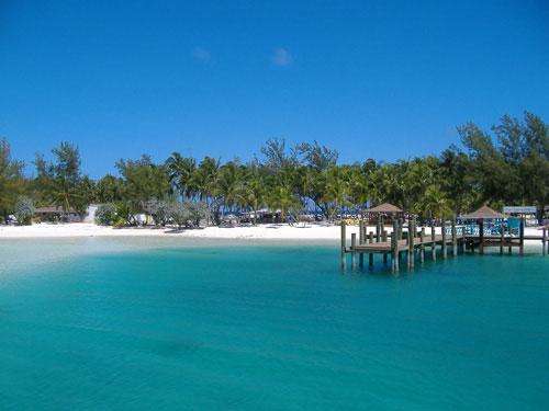 ilha com coqueiros, areia branca e mar com água azul claro