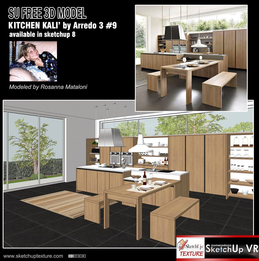 Modern Kitchen 3d Model sketchup texture: free sketchup 3d model modern kitchen #9 italian