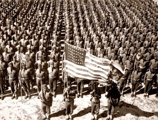 African-American troops stand at attention prior to World War II