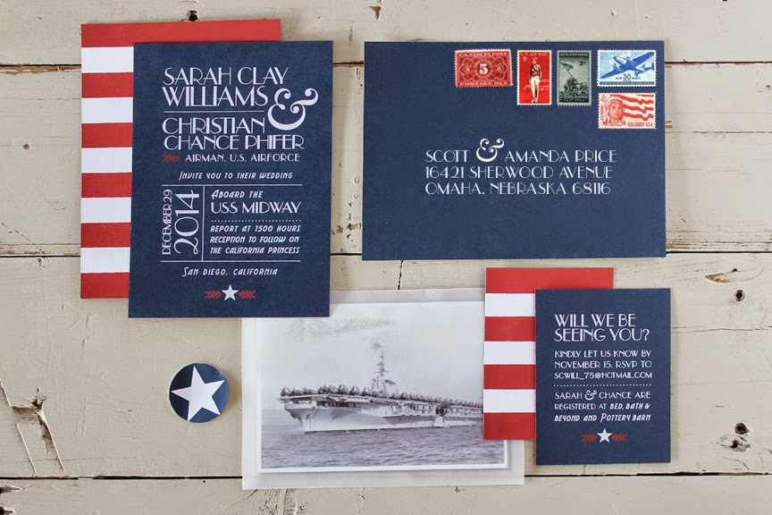 red white blue wedding invitations 1 comment - Military Wedding Invitations