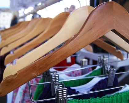 coathangers in rows at the handmade markets australia