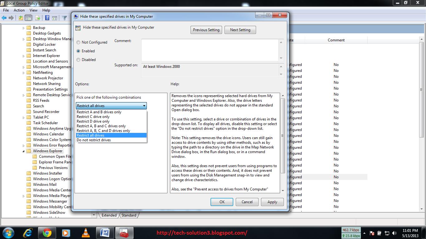 gpedit.msc windows 7 hide drive