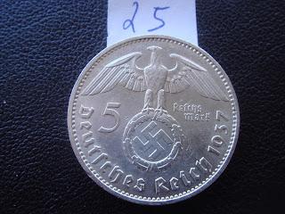 GERMAN GERMANY 5 MARK SILVER 1937 E coin with BIG SWASTIKA World War II WWII(25)